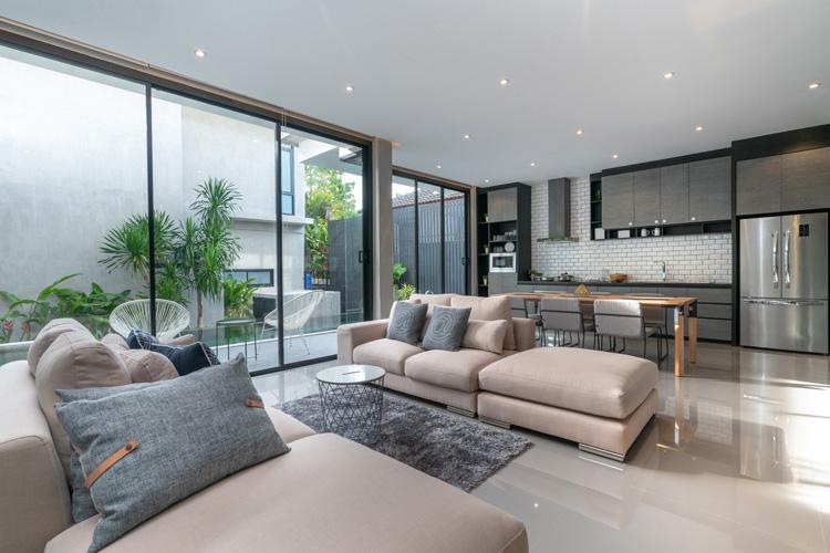 סלון מעוצב עם ספה וצמחיה